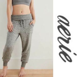 Aerie Plush High Waist Foldover Joggers Gray